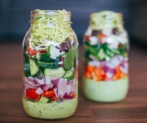 Greek Zucchini Salad In A Jar | Healthy Salad In A Jar Recipes | mason jar salad with chicken