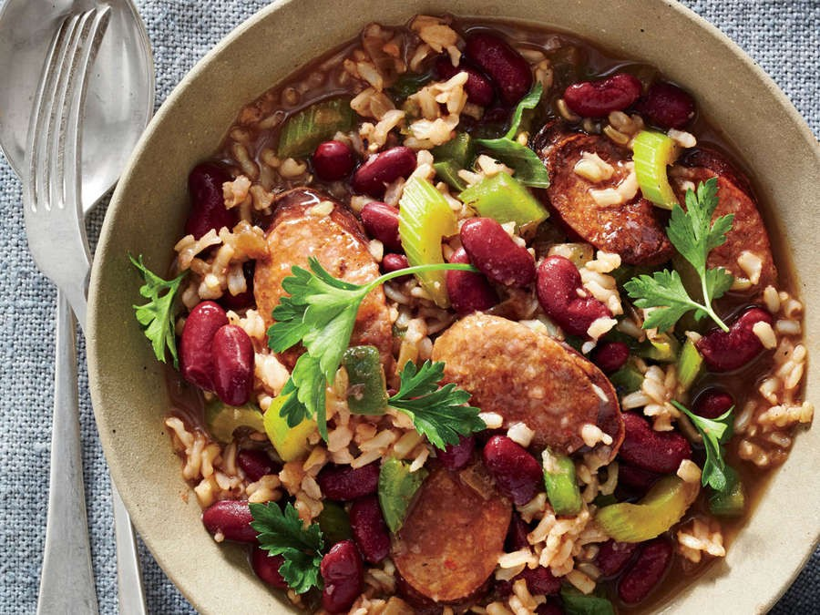 ENTREE/SAUSAGE-Cajun Red Beans and Brown Rice with Andouille | SUSAN  BLACKWOOD | Copy Me That